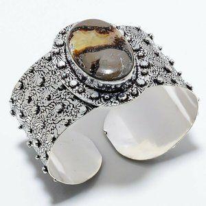 Handmade Crystal Septarian Gem 925 Cuff Bangle